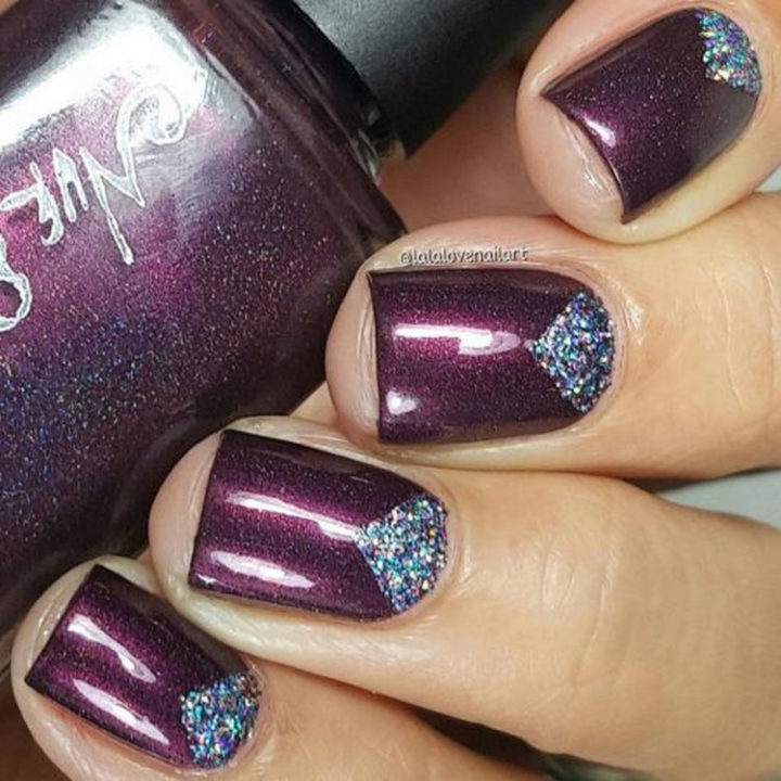 17 Winter Nail Designs - Edgy purple nails with just the right amount of glitter.