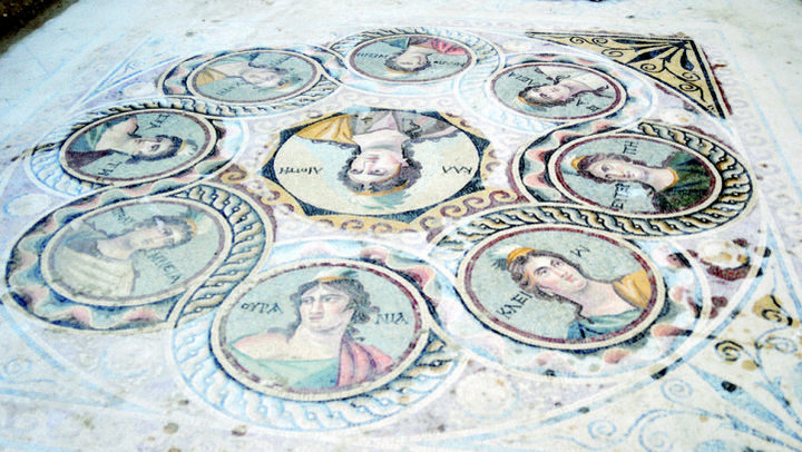 The ancient Greek mosaics are all made of glass pieces and are over 2,200 years old. Back in the 2nd century BC, many Greek homes had mosaics in them as works of art.