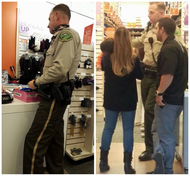 California police officer purchases shoes for a homeless woman found in a shopping mall parking lot.