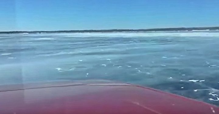 Truck Falling Through the Ice on Lake Winnpeg Captured on Video.