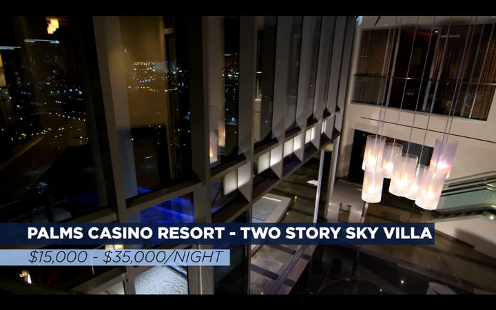 The final stop is Palms Casino Resort in Las Vegas. The team tried the Two Story Sky Villa, which ranges from $15,000 to $35,000 a night. Yes, per night. The room boasts 9,000 square feet of pure opulence.