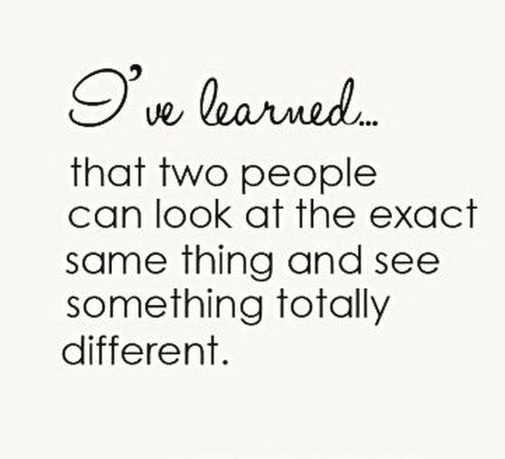 "10 Perspective Quotes - ""I've learned that two people can look at the exact same thing and see something totally different."""