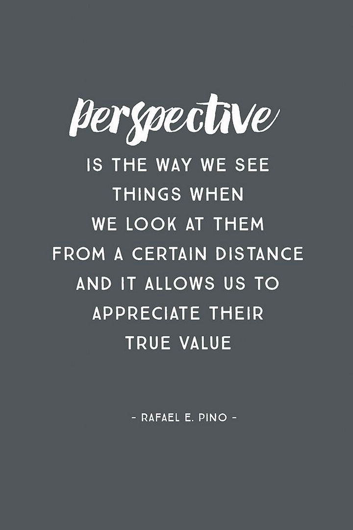 "10 Perspective Quotes - ""Perspective is the way we see things when we look at them from a certain distance and it allows us to appreciate their true value"""