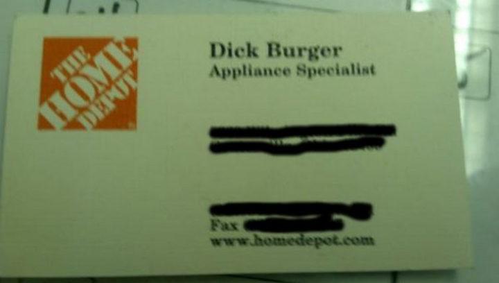 Funny Names - Dick Burger.