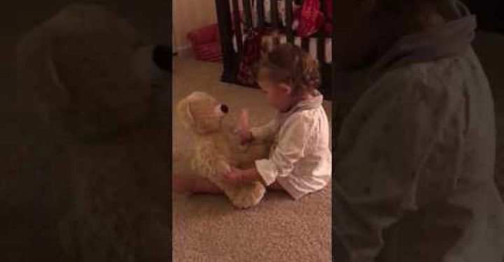 Daddy Is Deployed and Daughter Receives Teddy Bear With His Recorded Voice.