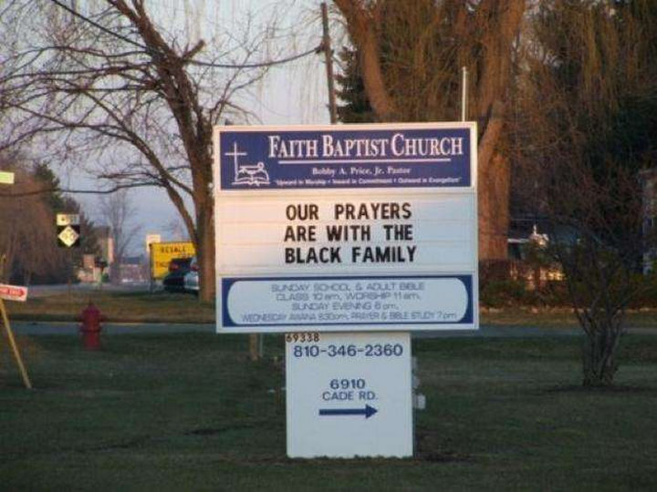"""31 Church Signs - """"Our prayers are with the Black family."""""""