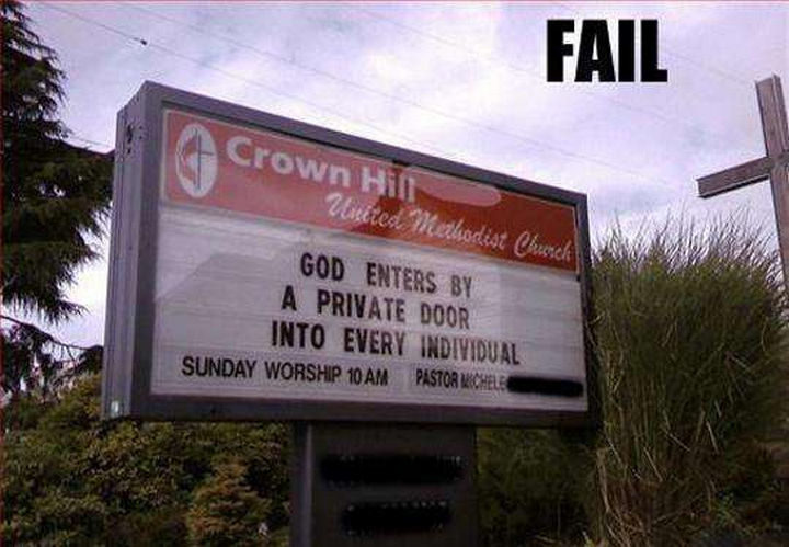 """31 Church Signs - """"God enters by a private door into every individual."""""""
