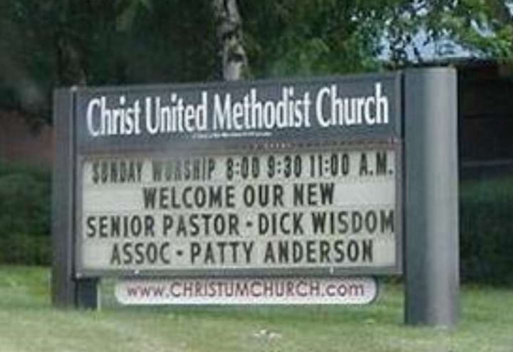 """""""Welcome our new Senior Pastor - Dick Wisdom. Assoc - Patty Anderson."""""""