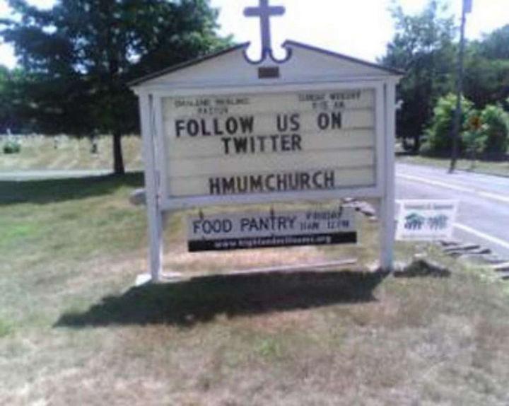 """Follow us on Twitter at hmumchurch."""