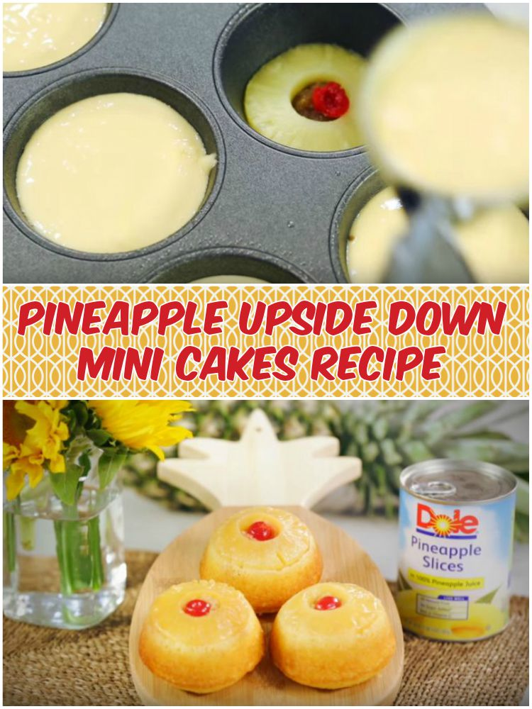 Pineapple Upside Down Mini Cakes Recipe Baked in Muffin Tins.