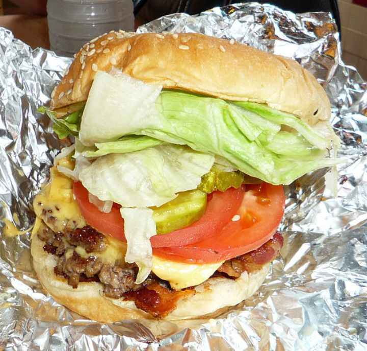 10 Fast Food Burgers With Less Fat and Calories Than a Caesar Salad - Five Guys Little Hamburger.