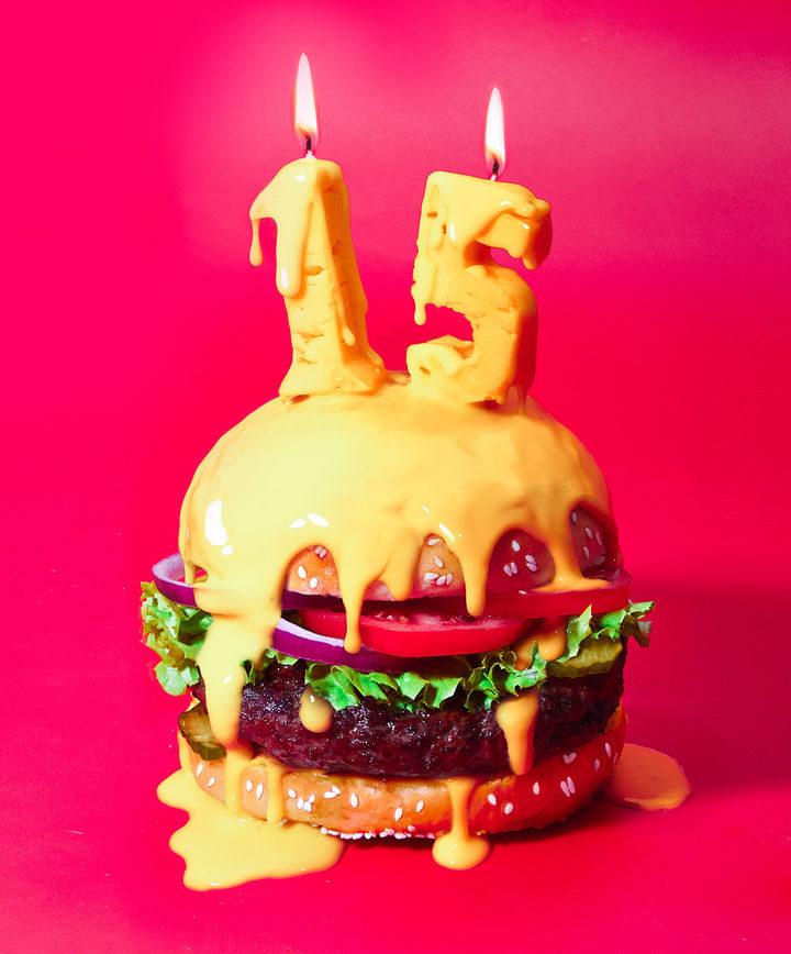 Happy Cheesy Burger.