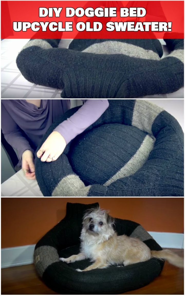 Cozy DIY Doggie Bed Created by Upcycling an Old Sweater.