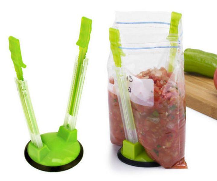 Jokari Hands-Free Baggy Rack Clip Food Storage Bag Holder.