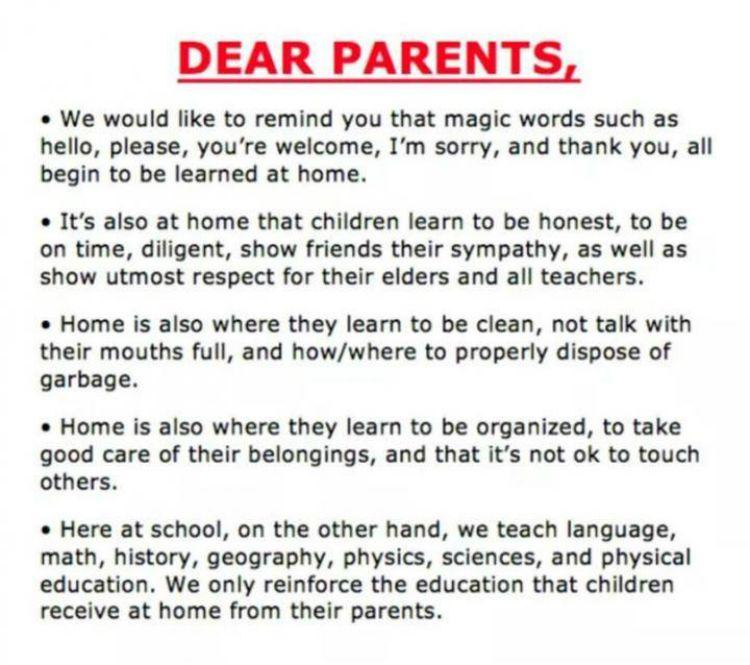 School Asks Parents to Teach Teach Their Kids Manners.