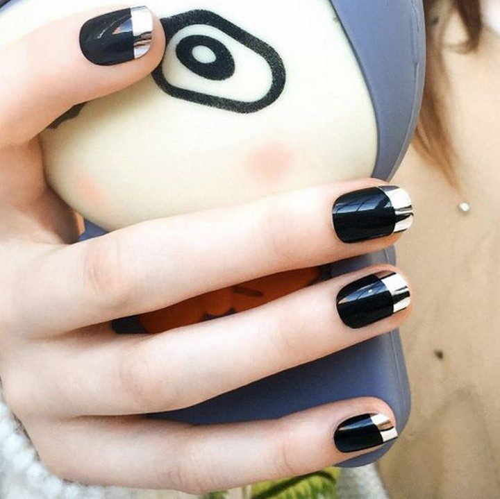 17 Chrome Nails - Black chrome French mani nails.