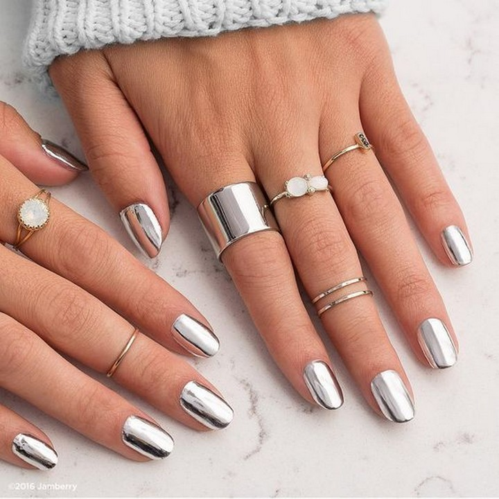 17 Metallic Nails - Silver metallic nails with some bling.