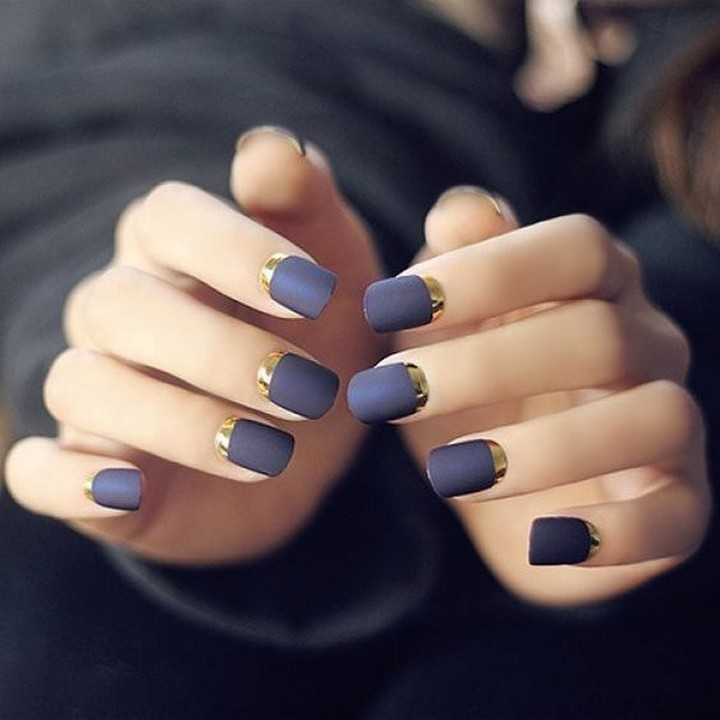 17 Metallic Nails - Try a reverse French mani with metallic gold tips.