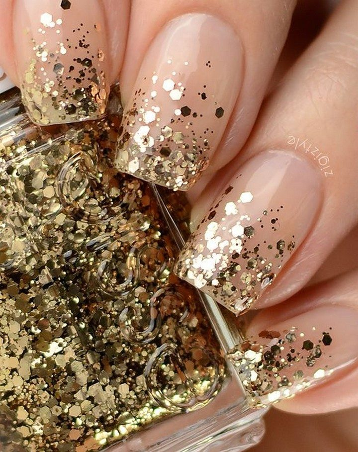 17 Chrome Nails - Kick it up a notch with gold metallic glitter.