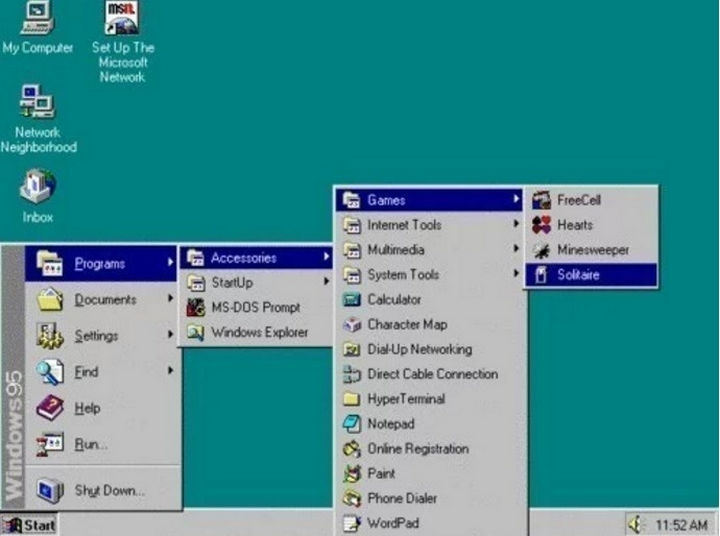 When the only good game on your computer was Solitaire and you had to go through this menu to play it.