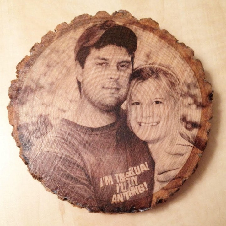 13 Handmade Gifts from Etsy - Personalized Rustic Wooden Photo Plaque.