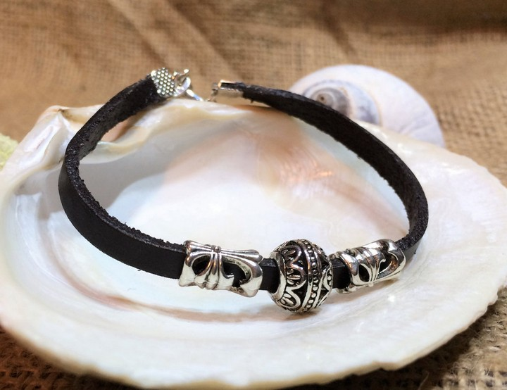 13 Handmade Gifts from Etsy - Women's Leather Bracelet with Adjustable Wrist Band.