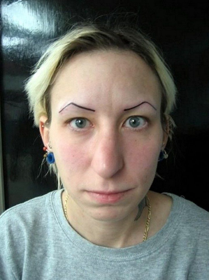 25 Funny Tattoo Fails - This is not the way to rock permanent eyebrows.