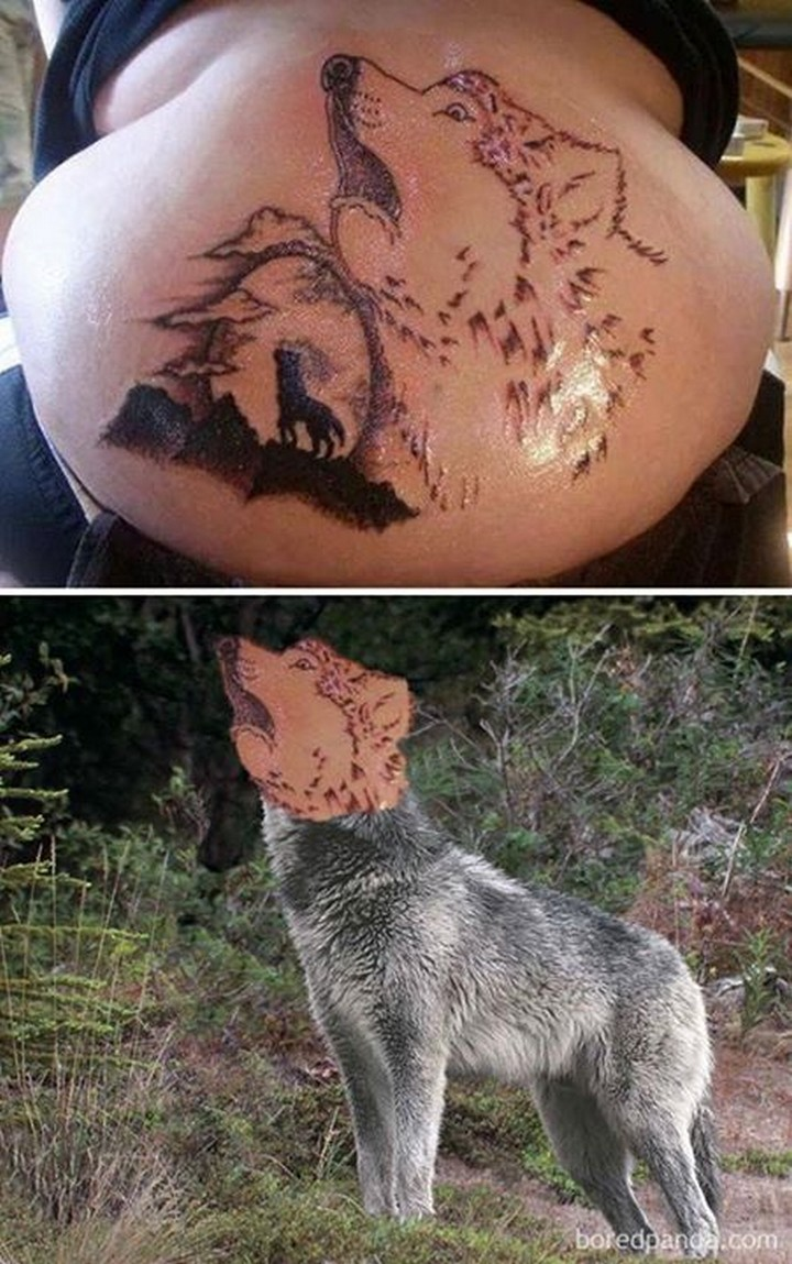 25 Funny Tattoo Fails - I can't tell if that wolf is howling or gagging...