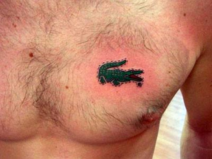 25 Funny Tattoo Fails - He must really, really love 'Lacoste' clothing.