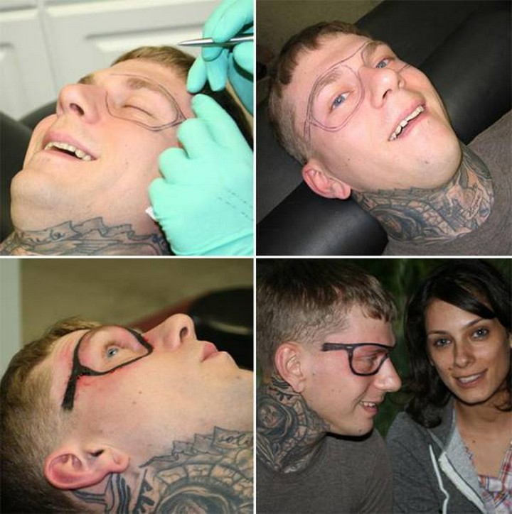 25 Funny Tattoo Fails - Permanent glasses. Who doesn't want that?