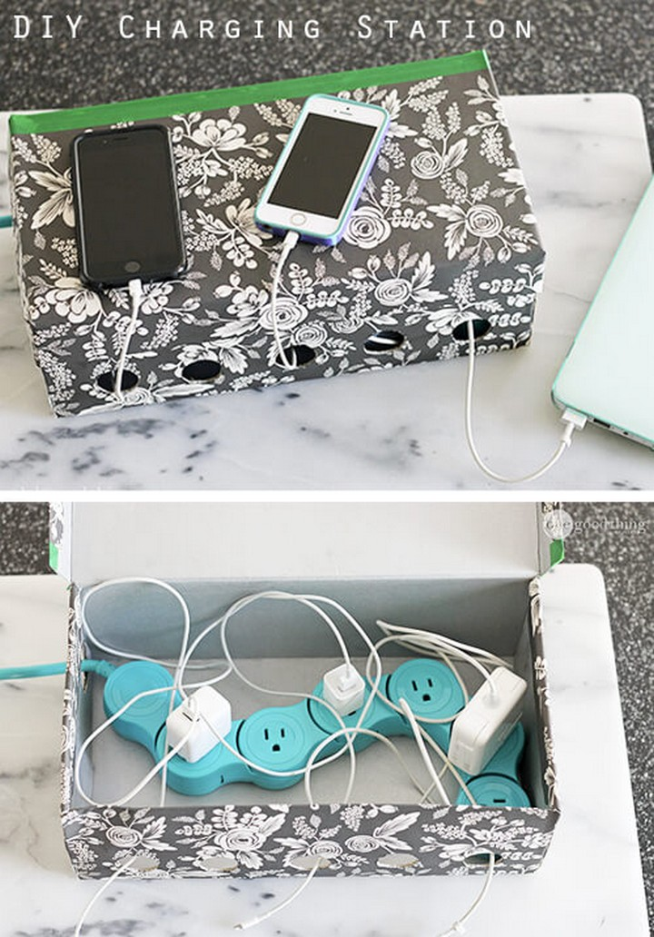 11 Creative Ways to Hide TV Wires - Make a DIY charging station using a shoebox.