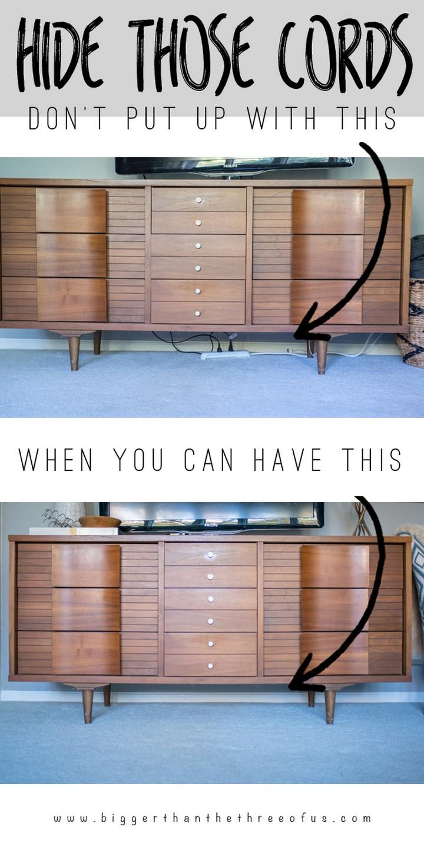 11 Creative Ways to Hide TV Wires - Hide TV cords with the help of zip ties.