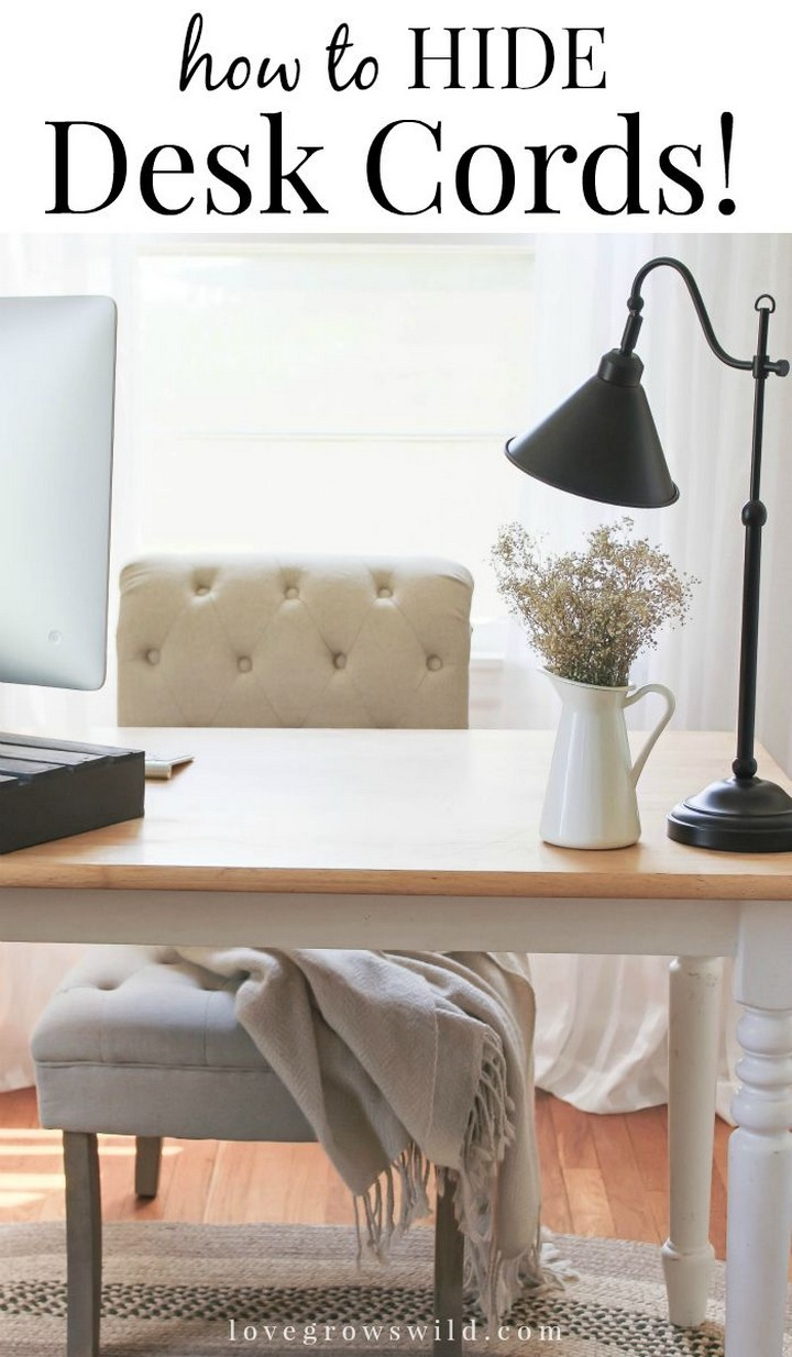 11 Creative Ways to Hide TV Wires - Hide desk cords by stapling them in place.