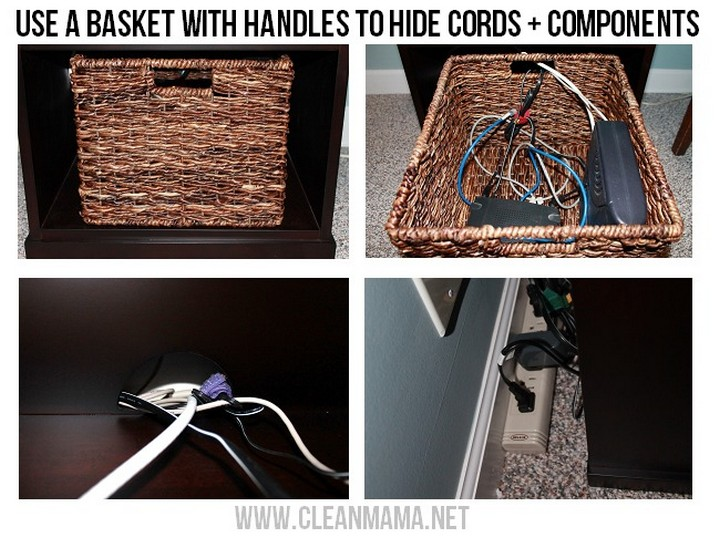 11 Creative Ways to Hide TV Wires - Use a basket with handles to hide cords and components.