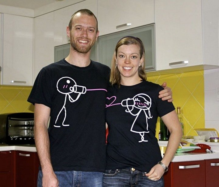 17 Couples T-Shirts - This couple is always connected.