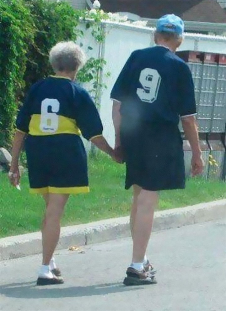 17 Couples T-Shirts - This couple is adorable too; however, I hope their couples T-shirts mean they've been together since 1969!
