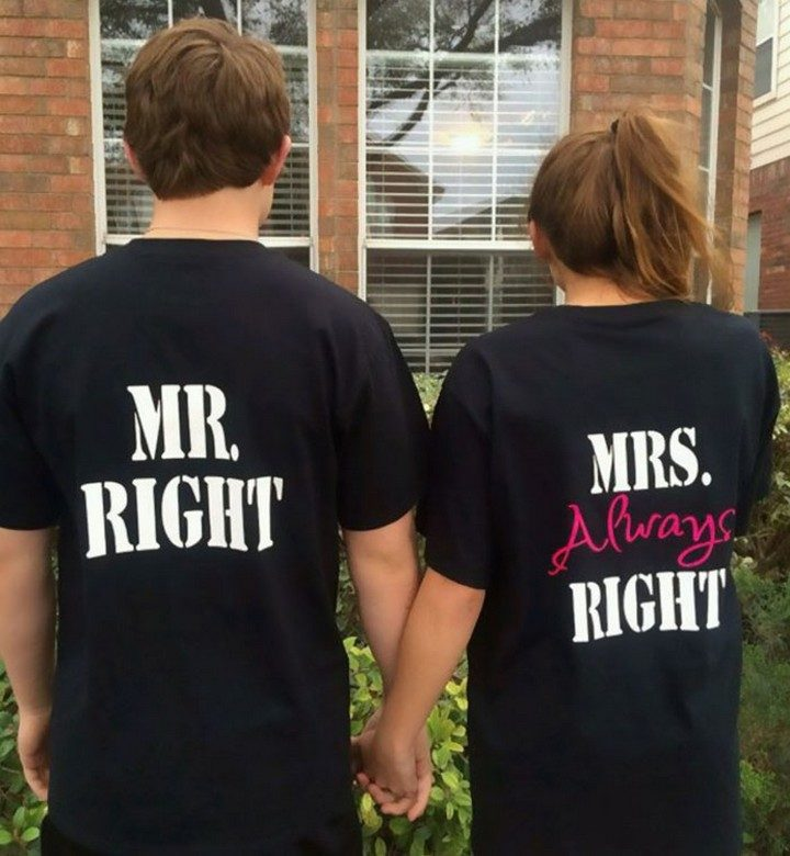 "17 Couples T-Shirts - Meet Mr. Right and Mrs. ""Always"" Right."