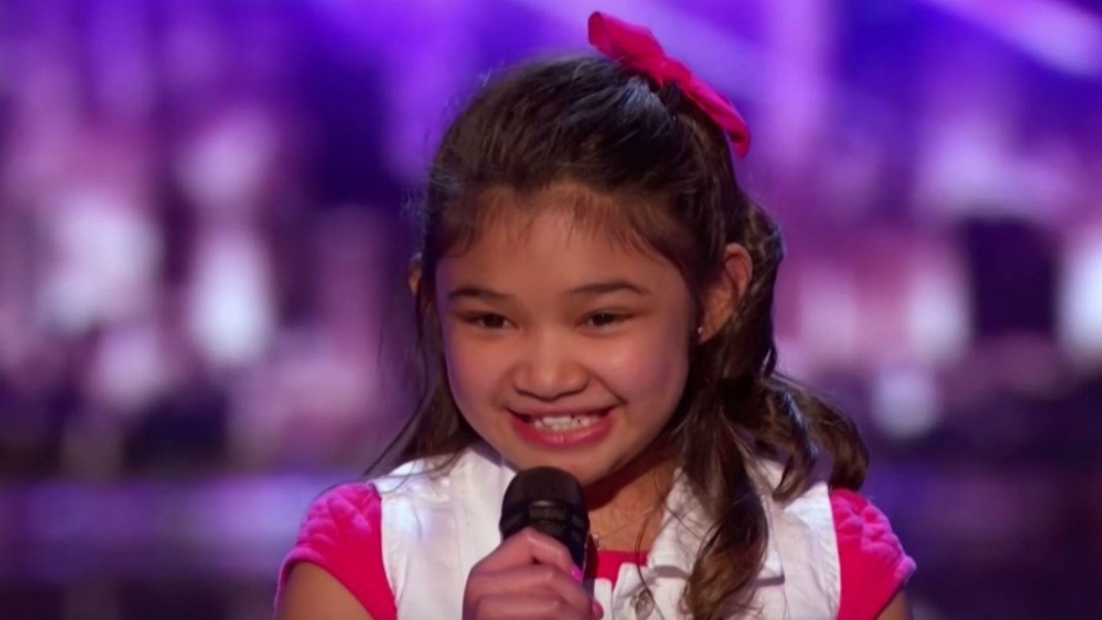 Angelica Hale Performs 'Girl On Fire' Cover at AGT 2017.