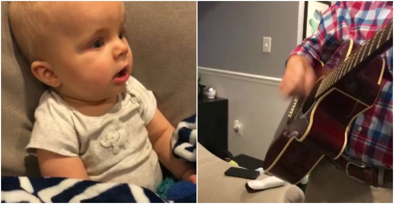 Baby Hears His Dad Playing Guitar for the First Time and Smiles.