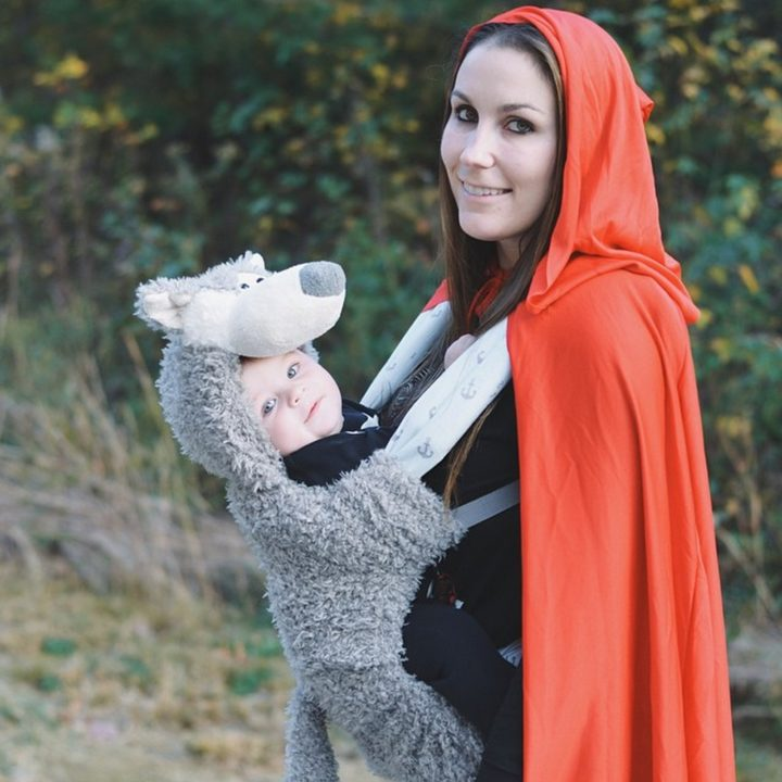 17 Funny Halloween Costumes for Babies - Little Red Riding Hood & The Big Bad Wolf costume.