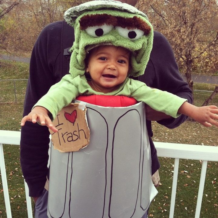 17 Funny Halloween Costumes for Babies - Oscar the Grouch costume.