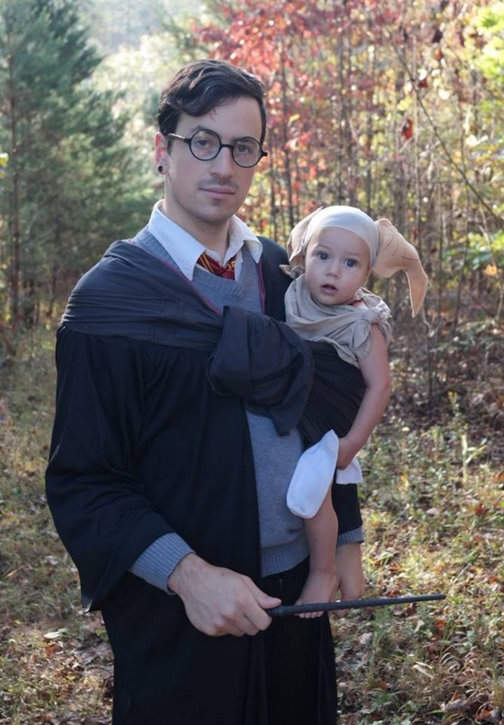 17 Funny Halloween Costumes for Babies - Harry Potter costume and Dobby the House Elf costume.