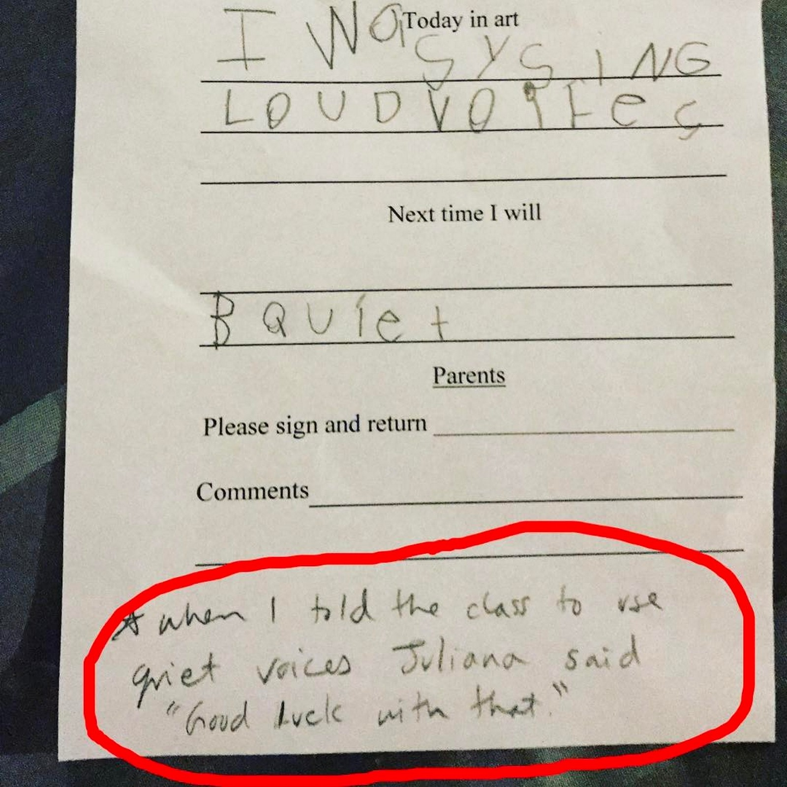 17 Teacher Notes - Sassy little Juliana is extra sassy today!