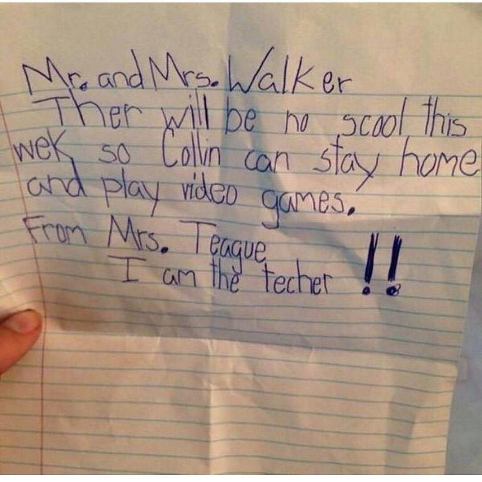 17 Teacher Notes - Of course, there is always that time when kids try to make their own teacher's note to bring home.