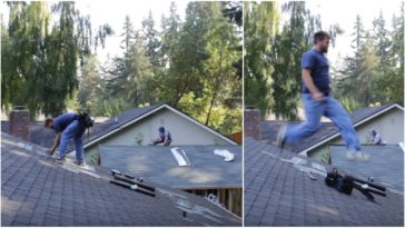 Energetic Roofer Can't Help Dancing (Bailando) to Latino Music.