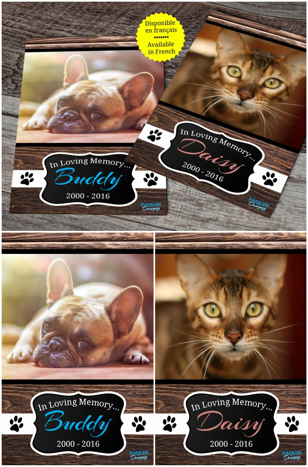 Pet memorial service and pet memorial cards.