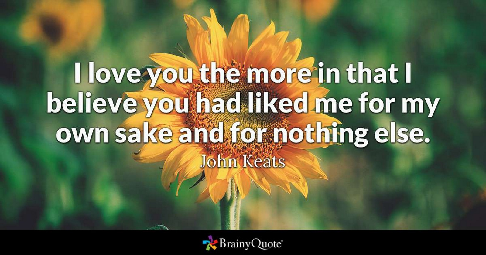"55 Romantic Quotes - ""I love you the more in that I believe you had liked me for my own sake and for nothing else."" - John Keats"