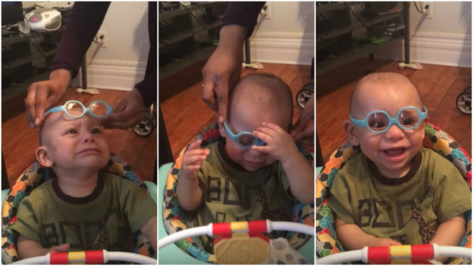 Baby Wears Glasses for the First Time and Sees His Family Clearly.