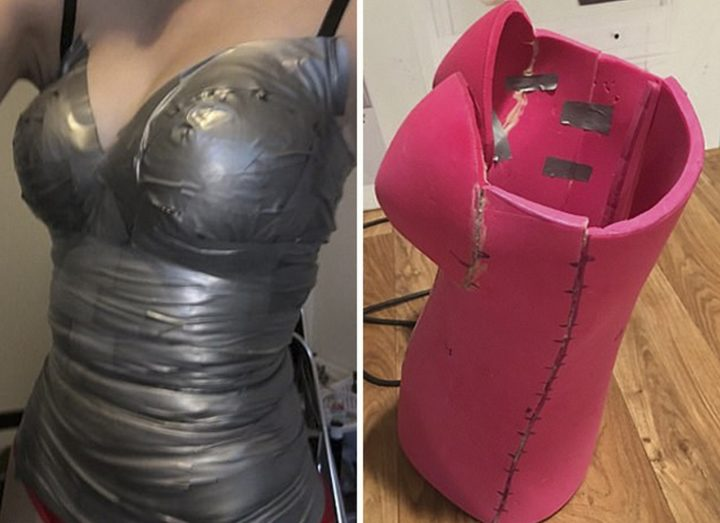 She started by duct taping herself to create a form or mold for the costume and ensure it is a perfect fit.