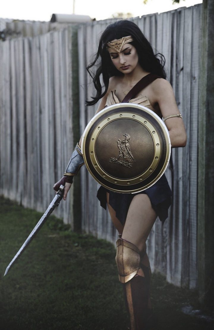 The Wonder Woman costume only cost $30 in supplies and even the shoes were bought at a thrift shop.